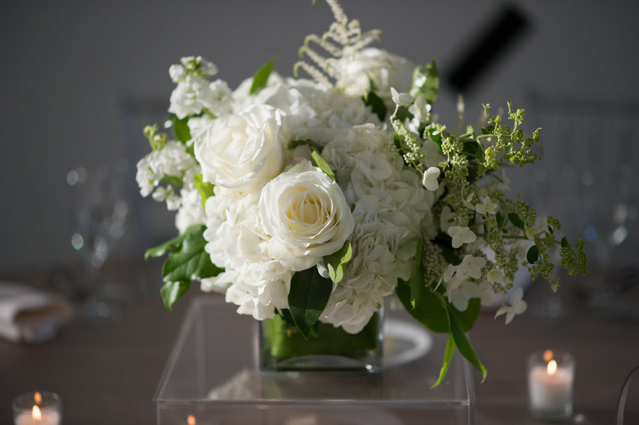 Modern White Floral Arrangement | Candice C Cusic Photography