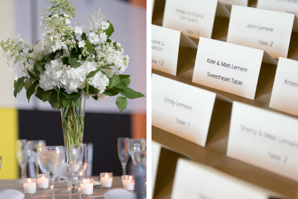 Beautiful White Floral Table Centerpieces and Escort Cards | Candice C Cusic Photography