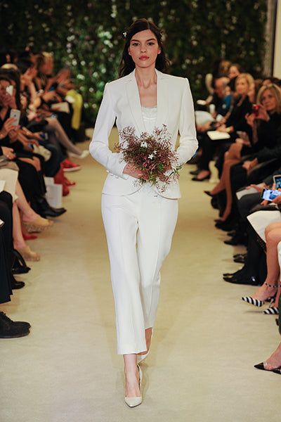 White Pantsuit for Bride | Carolina Herrera