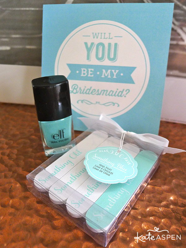 Will you be my bridesmaid Gift Box nail polish and Something Blue Nail Files