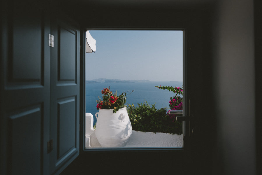 Gorgeous Window View | Santorini Destination Wedding | Vasilis Lagios Photography