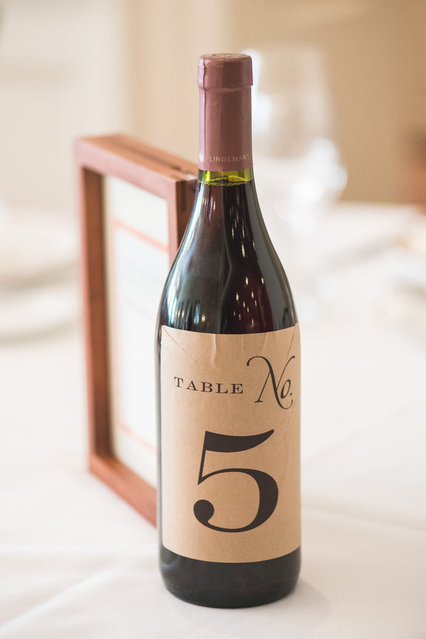 Wine Bottle Table Number | Peachy Pink Wedding in Historic Charleston | Priscilla Thomas Photography