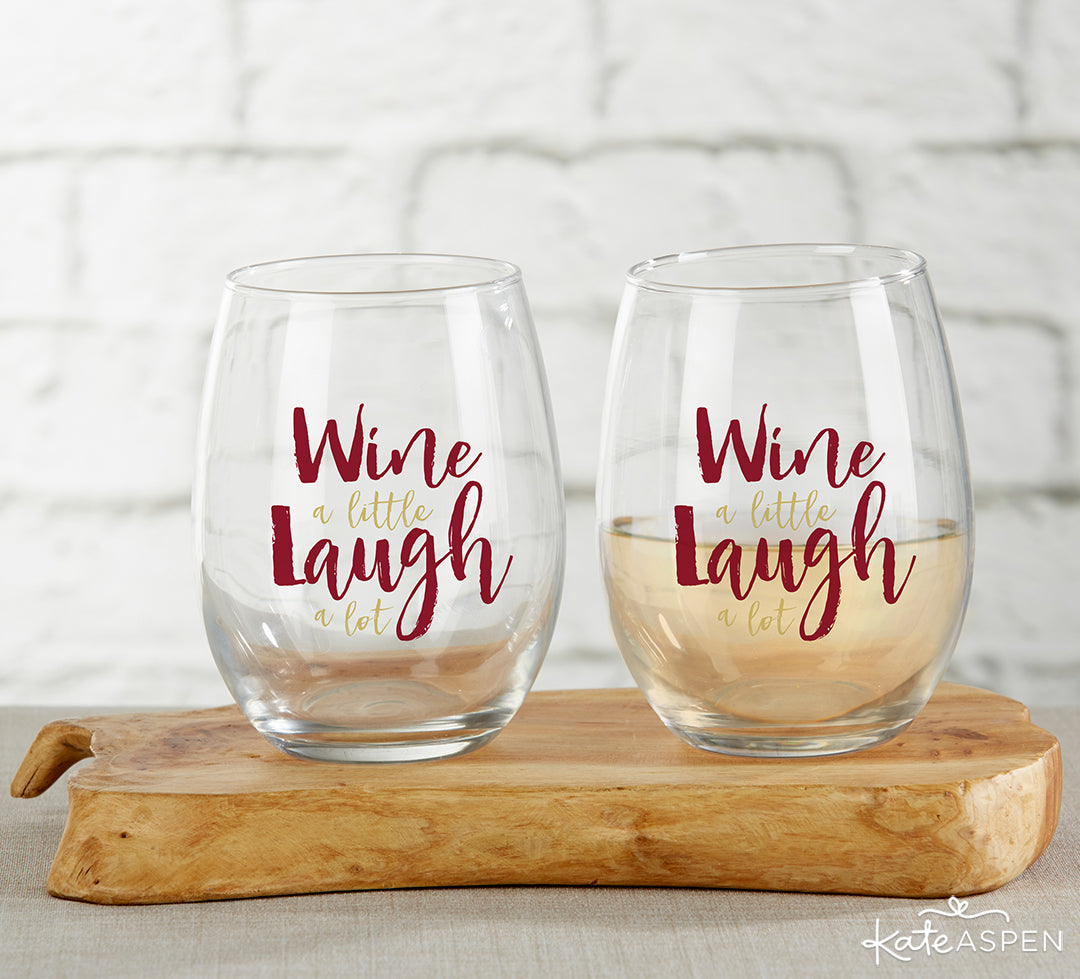 Wine A Little Laugh A Lot Stemless Wine Glasses | 8 Gifts Under $25 to Get Your Sweetheart for Valentine's Day | Kate Aspen
