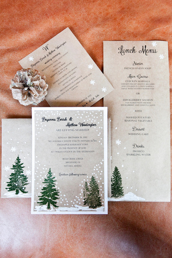 Winter Wedding Invitation and Menu | Tana Photography | IDoWED McCall