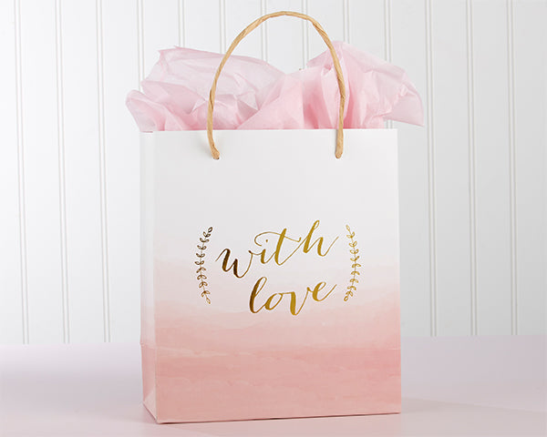 With Love Pink Watercolor Gift Bag|Pretty Pink Favors For Your Romantic Wedding | Kate Aspen