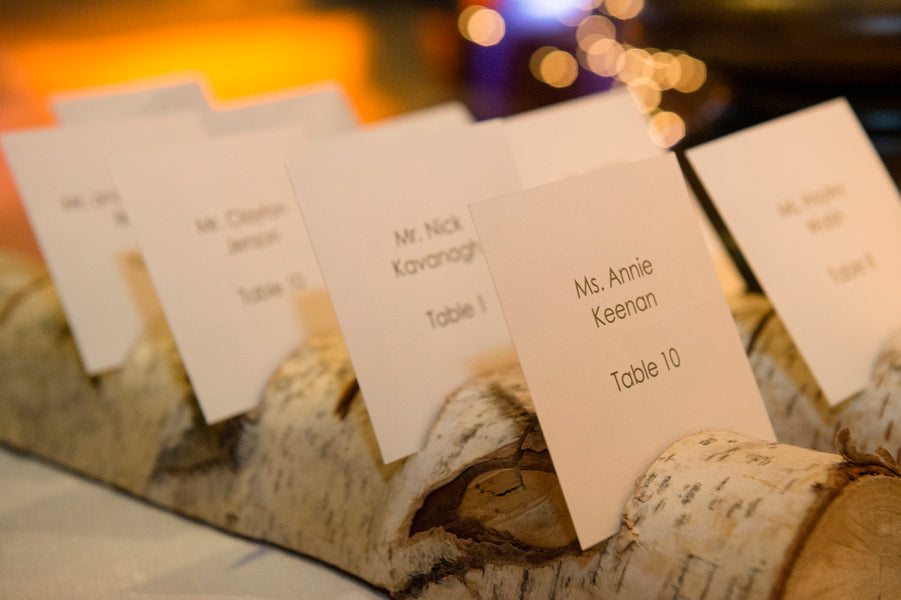 Wood Place Card Holder | A Charmingly Cozy Winter Wedding | Dev Khalsa Photography | Kate Aspen