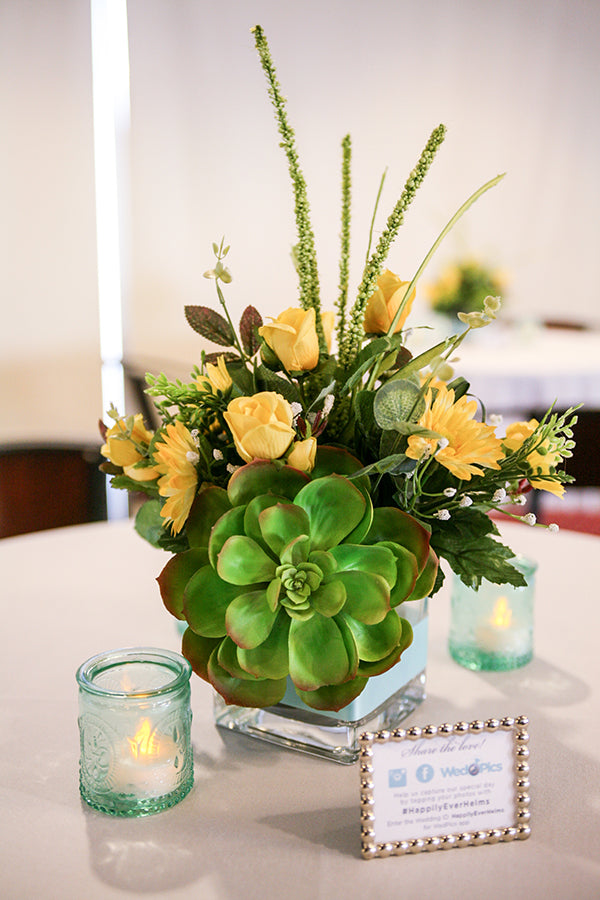 Yellow and Green Centerpieces | Wes Roberts Photography