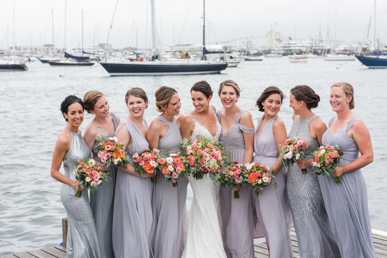 Bride and Bridesmaids | A Scenic Wedding Off the Coast of Rhode Island | Kate Aspen