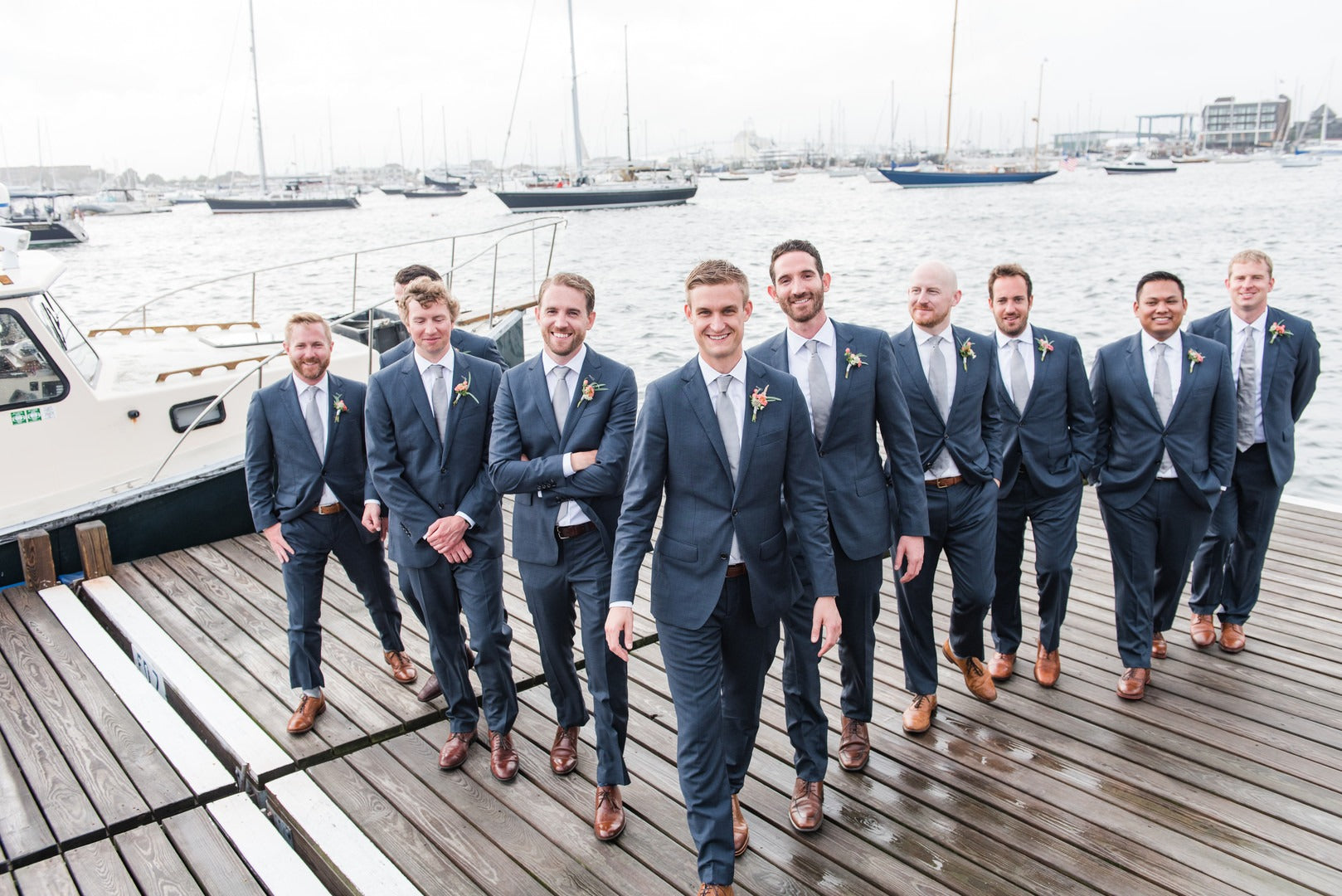 Groom and Groomsmen | A Scenic Wedding Off the Coast of Rhode Island | Kate Aspen