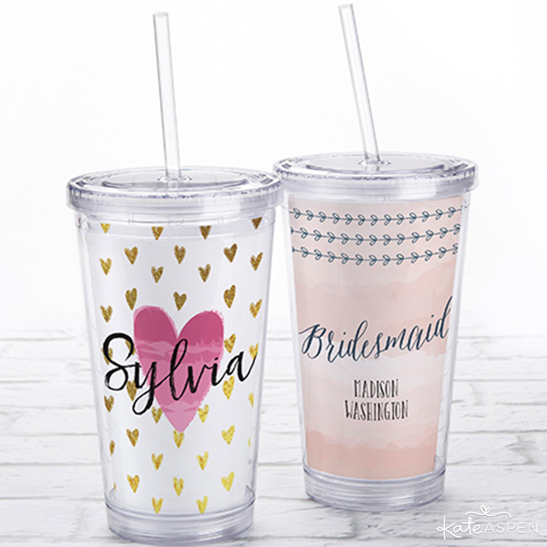 Personalized Acrylic Tumblers | 6 Gifts Your Bridesmaids Will Love | Kate Aspen