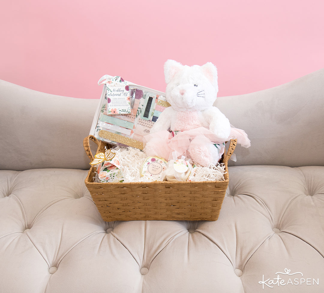 Basket With Small Gifts | How To Ask Your Flower Girl + DIY Gift Basket | Kate Aspen