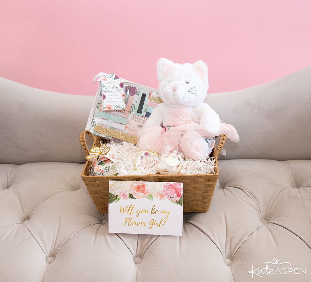 Basket With Card | How To Ask Your Flower Girl + DIY Gift Basket | Kate Aspen
