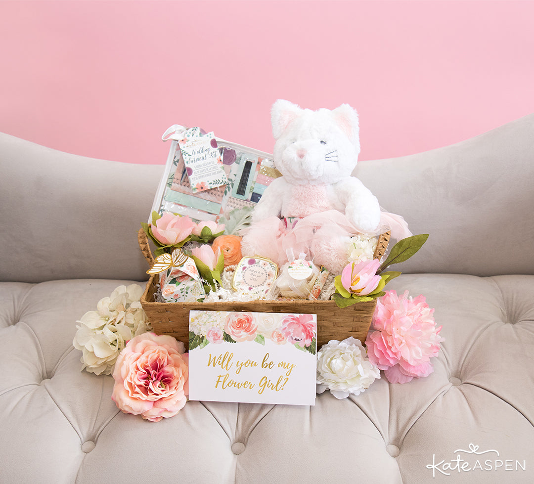 Basket With Flowers | How To Ask Your Flower Girl + DIY Gift Basket | Kate Aspen