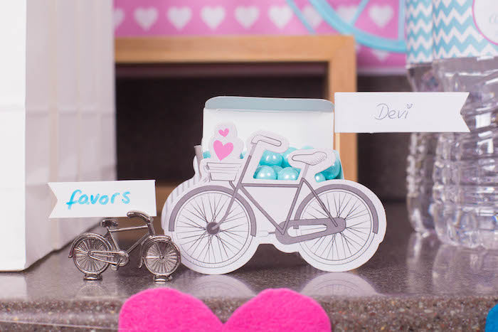 Bicycle Place Card Holder and Bicycle Favor Box by Kate Aspen via A Party Studio