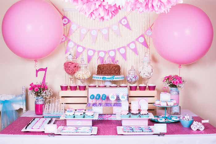 Pink, Purple and Bllue Bicycle Birthday Party | by A Party Studio via Kara's Party Ideas