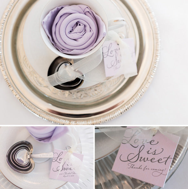 Teacup with Rose Napkin | Lavender Kitchen Themed Bridal Shower Captured by Irving Photography