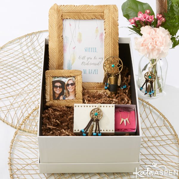 "DIY Boho ""Will you be my Bridesmaid?"" Gift Box from Kate Aspen"