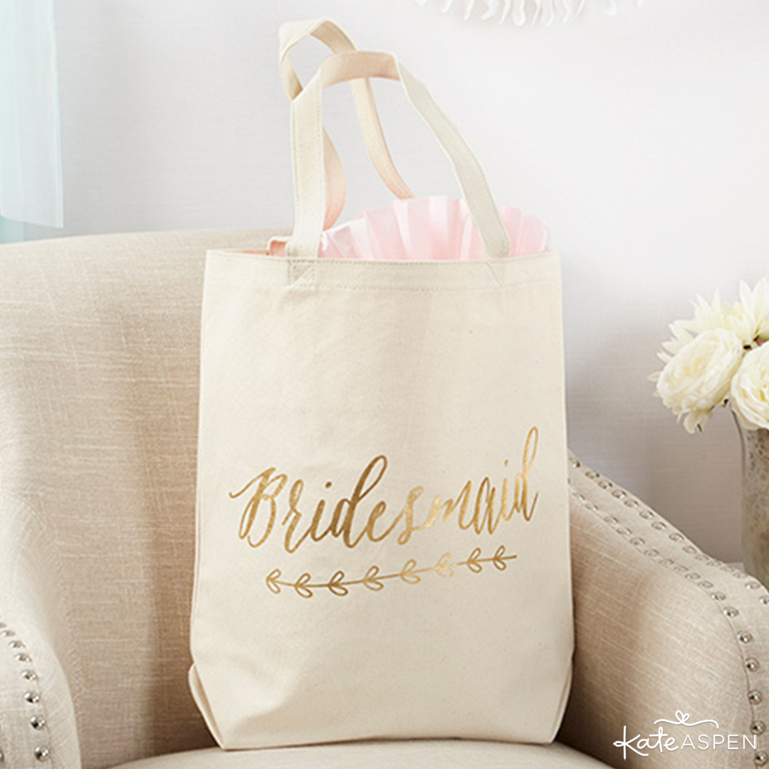 Gold Foil Bridesmaid Canvas Tote | 6 Gifts Your Bridesmaids Will Love | Kate Aspen