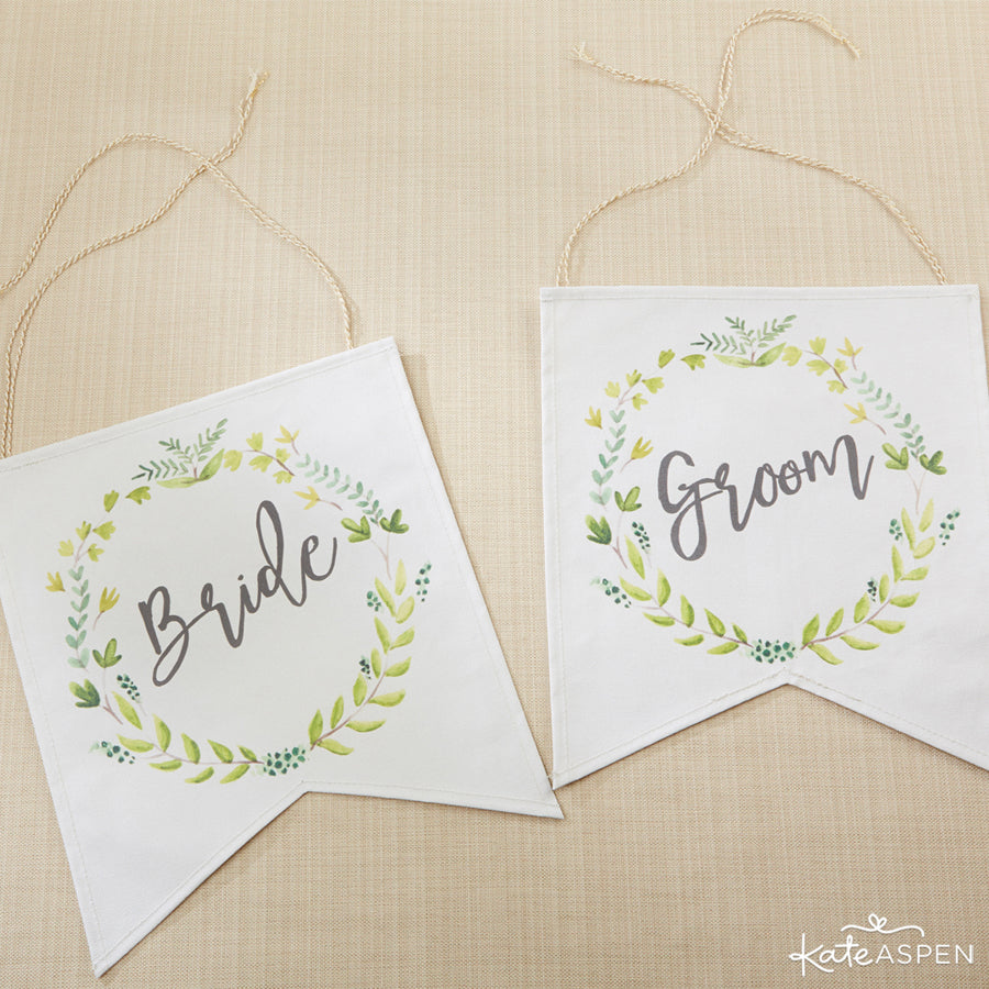 Botanical Canvas Bride And Groom Chair Signs | A Botanical Garden Giveaway | Kate Aspen
