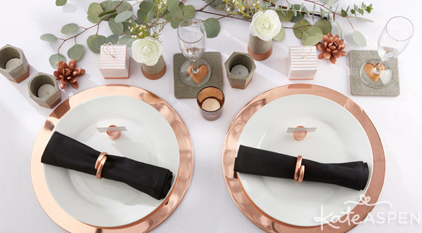 Industrial Wedding Ideas | Copper and Concrete collection from Kate Aspen