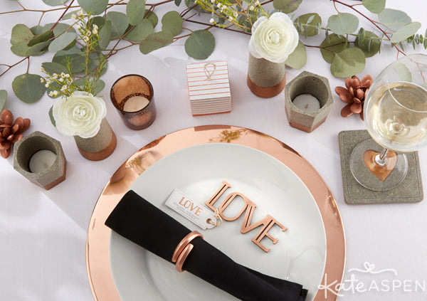 Insustrial Wedding Table Decor | Copper and Concrete Wedding Collection from Kate Aspen