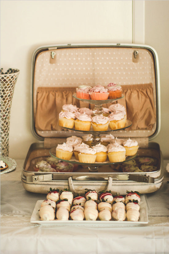 Cupcakes in Vintage Suitcase | Bridal Shower | Maritha Mae Photography via Wedding Chicks