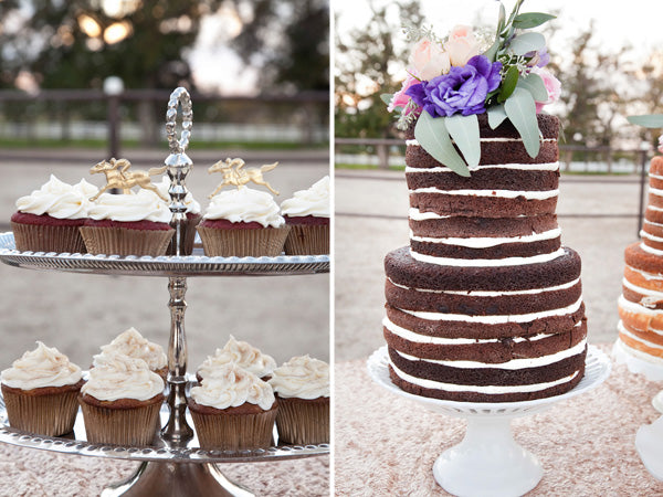 Chocolate naked cake and chocolate cupcakes | Tana Photography
