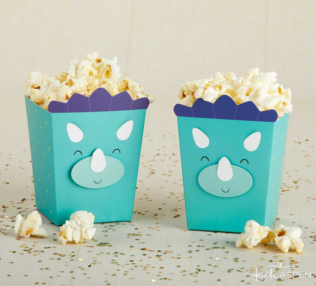 Dinosaur Popcorn Favor Box | A Roaring Dinosaur Birthday Party Set Up | Kate Aspen