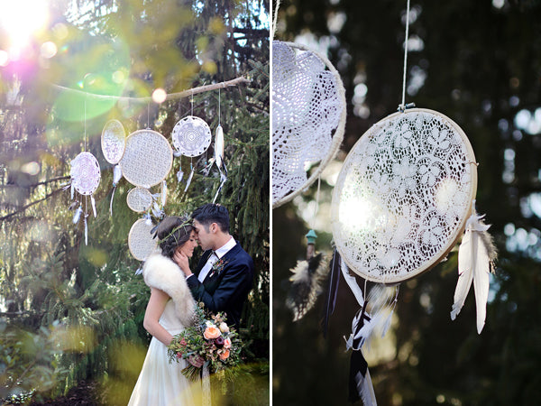 Dreamcatcher boho wedding backdrop | Catrina Earls Photography