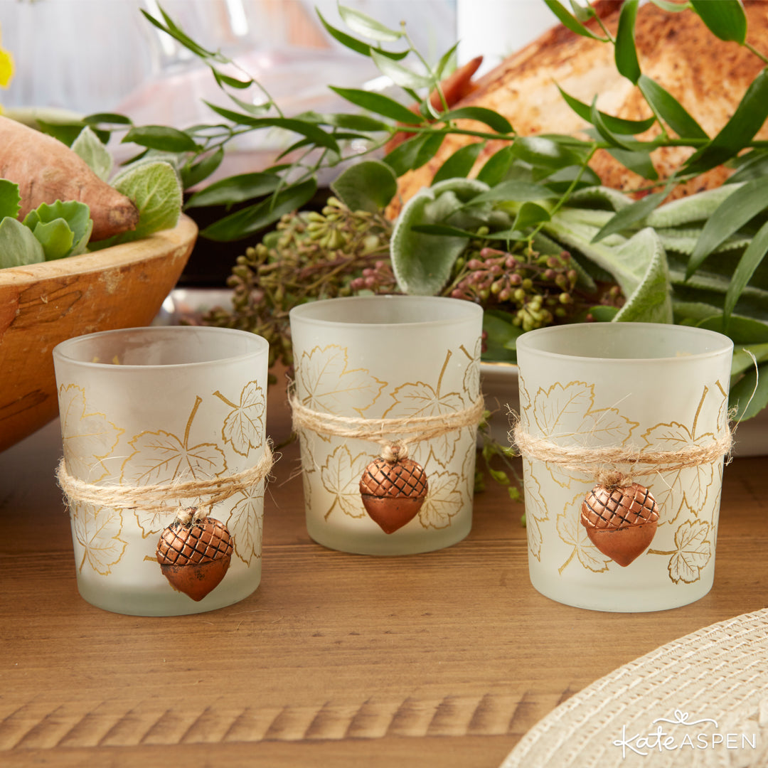 Acorn Tealight Holders | Thanksgiving Table Setting | Kate Aspen