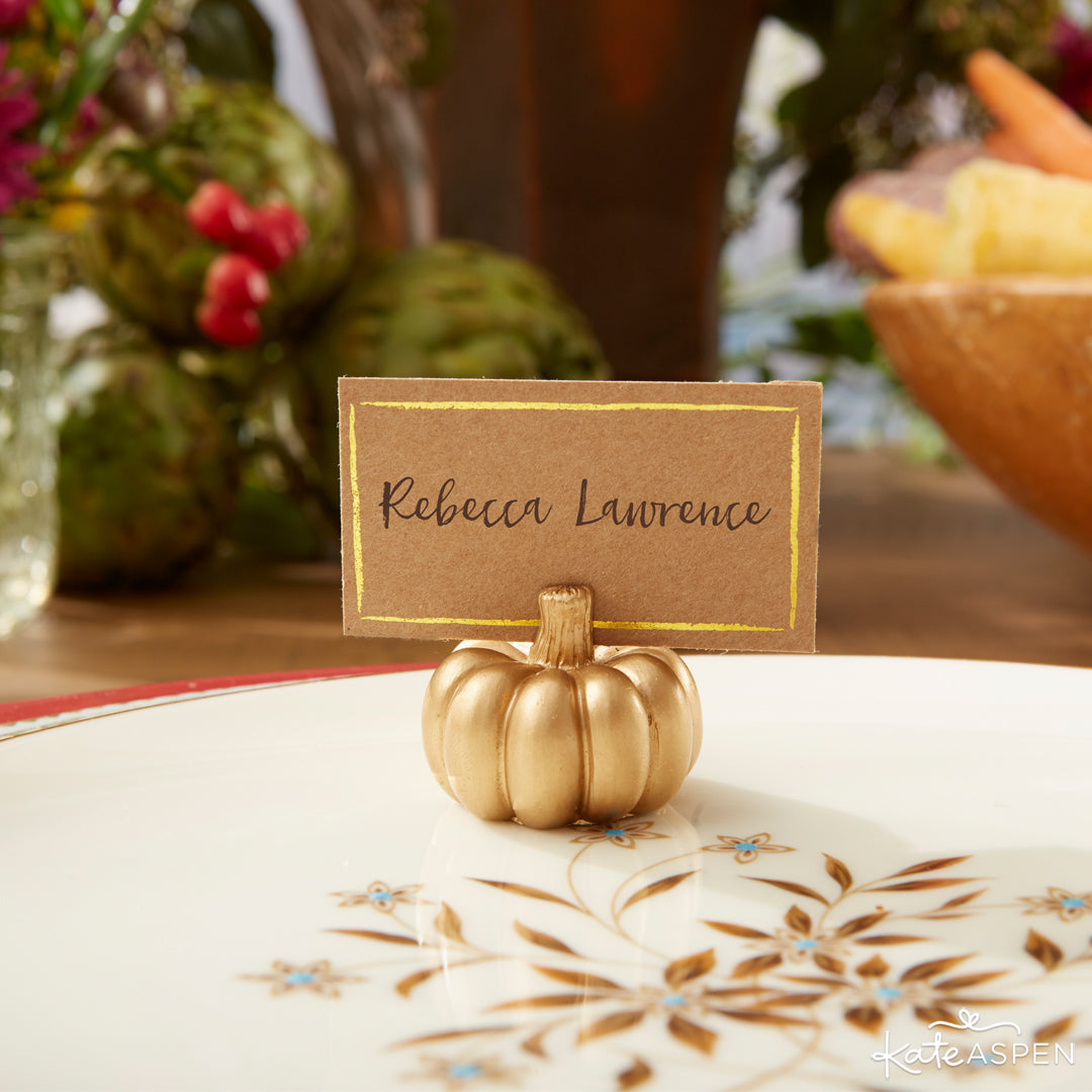 Pumpkin Placecard Holder | Thanksgiving Table Setting | Kate Aspen