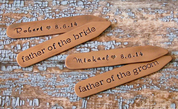 custom father of the bride collar stays | Unique gifts for the father of the bride | Lily Brooke Vintage