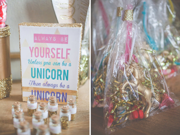 Unicorn Party Favors | Shabby Chic Unicorn Birthday Party captured by Heather Lynn Photographie and styled by Mariah Rainier Style. Pretty party sweets by Turquoise & Pink. See the full party featured on the Kate Aspen blog!