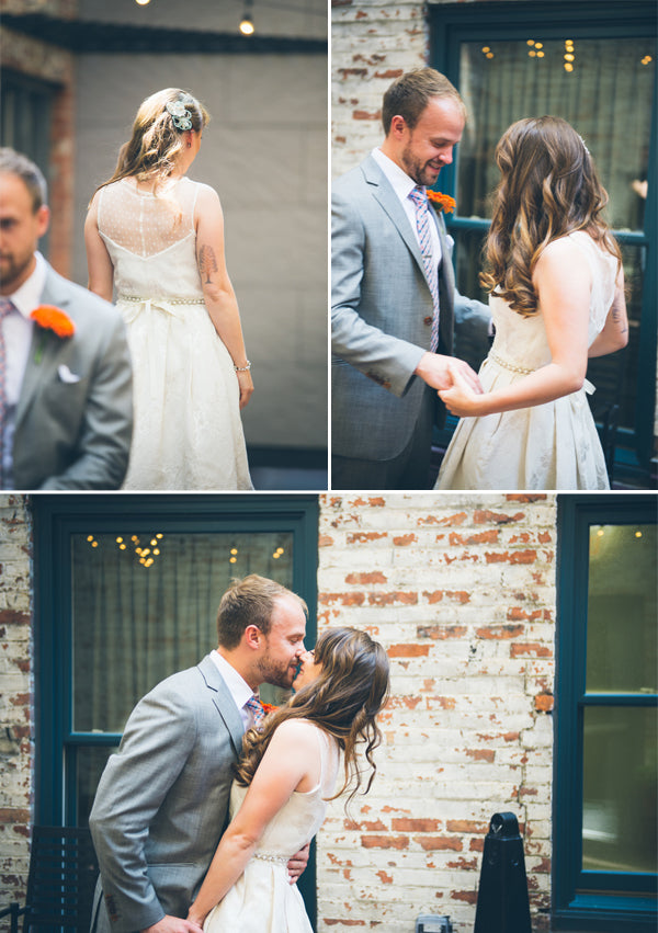 First Look | Modern and Whimsical Wedding | Mint, Orange, and Lemon Color Palette| Buffalo Wedding | Christina Laing Photography | Kate Aspen Blog