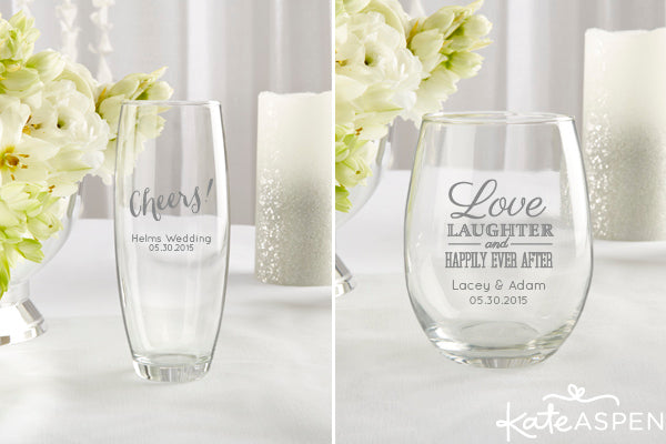 Personalized Stemless Champagne and Wine Glasses | Kate Aspen | kateaspen.com