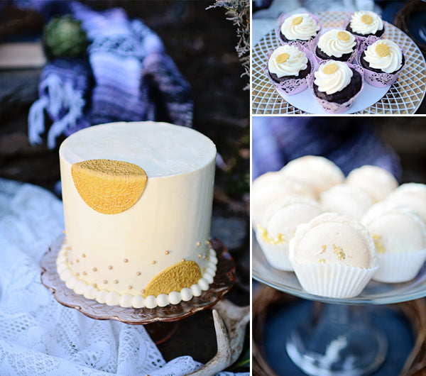 golden cake and desserts | Catrina Earls Photography