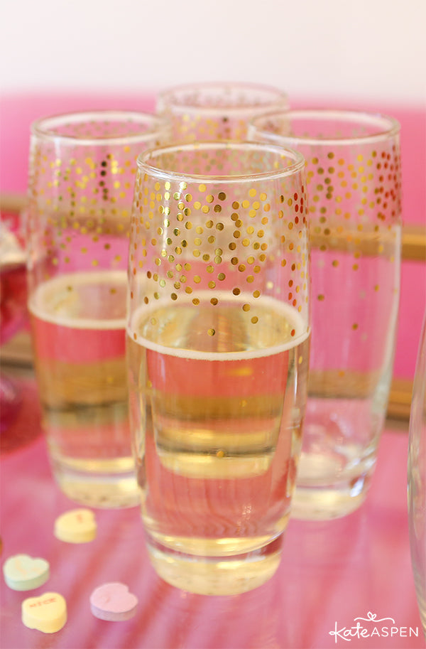 Gold Confetti Stemless Champagne Flutes | Galentine's Day Bar Cart | Kate Aspen