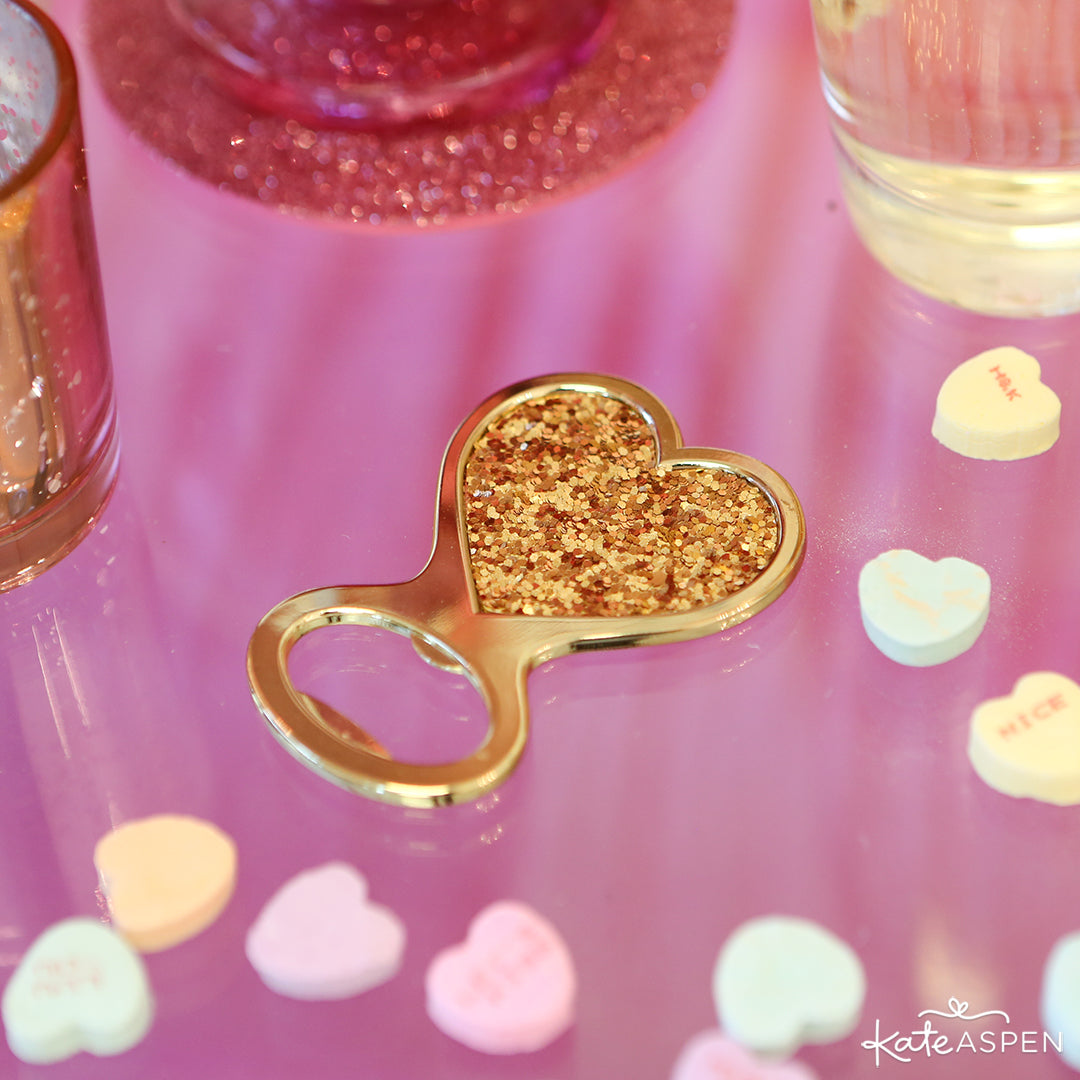 Gold Glitter Heart Bottle Opener | Galentine's Day Bar Cart | Kate Aspen