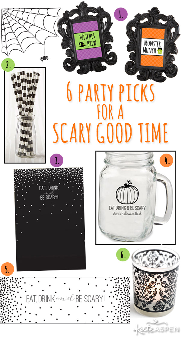 Halloween Party Ideas from Kate Aspen | Eat Drink and Be Scary | Personalized Party Decor