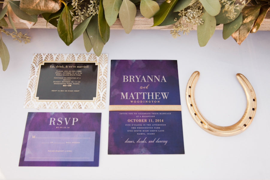 Purple and gold wedding invitation suite | Tana Photography