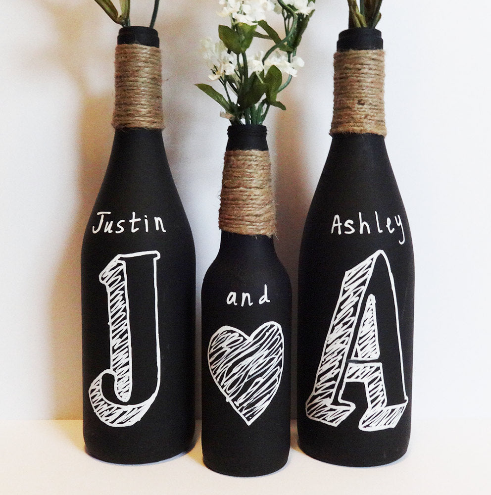 DIY Chalkboard Wine Bottles | Artistically Ashley on Etsy