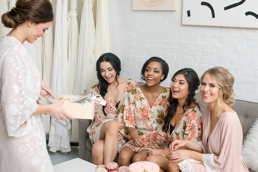 Bridesmaids Receiving Gift | Fun Tips For Getting Ready On Your Wedding Day | Kate Aspen