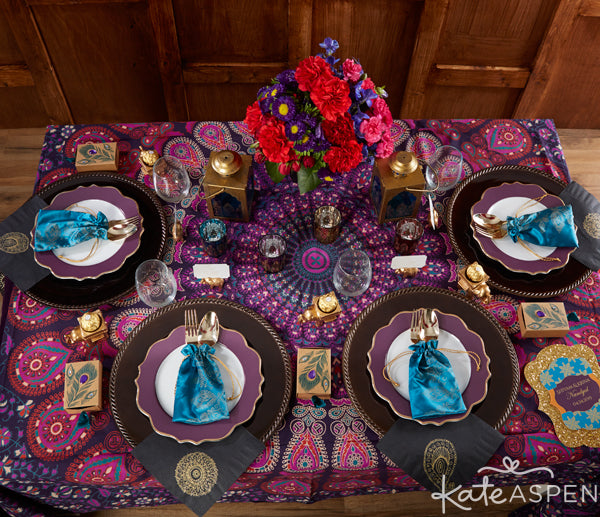 Jewel Tone Indian Wedding Reception Decor from Kate Aspen