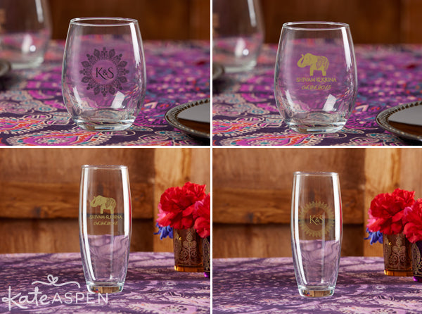 Personalized glasses for an Indian Wedding from Kate Aspen