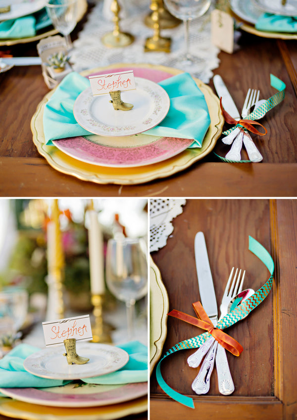Bohemian wedding place setting | Andie Freeman Photography