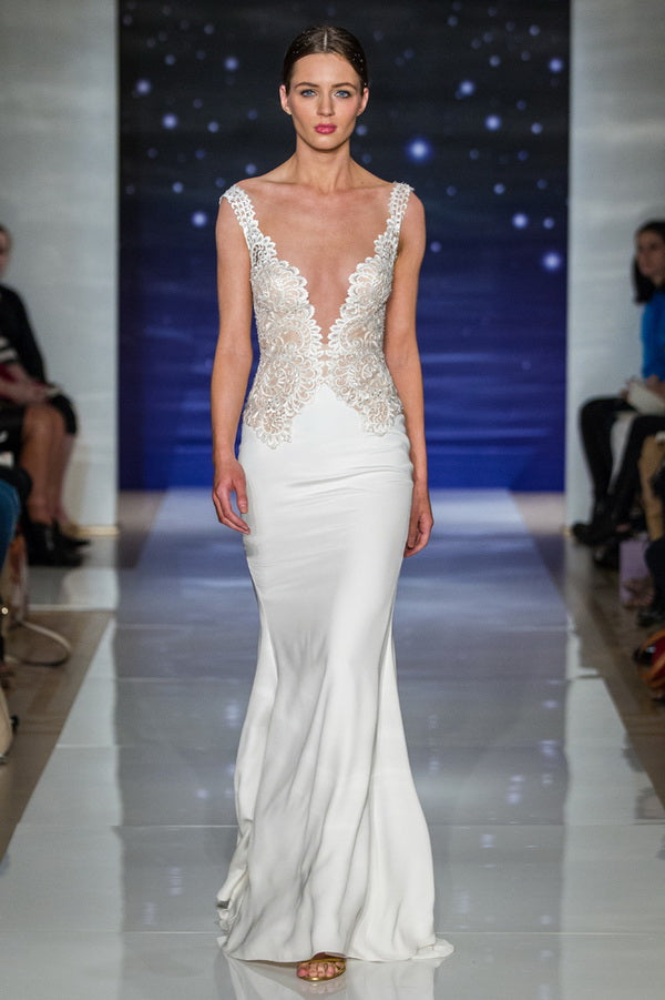 Wedding Dress with Plunging V-Neck | Reem Acra Spring Bridal Collection 2016