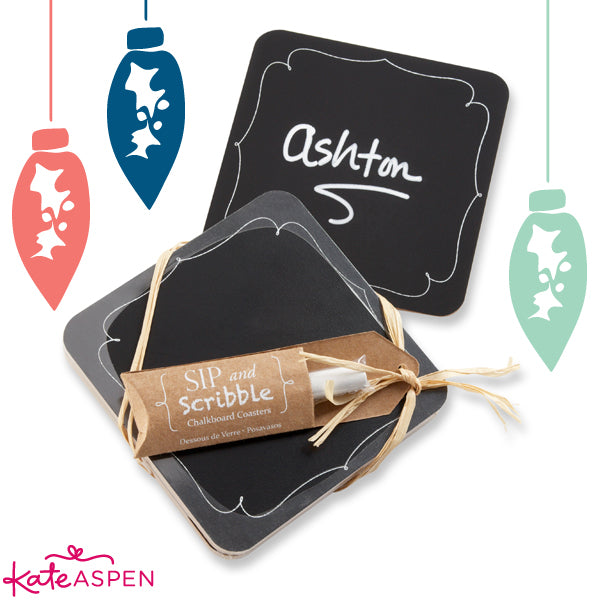 10 Unique Stocking Stuffers | Chalkboard Coasters | Kate Aspen Blog