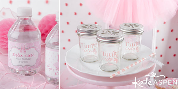 tutu party water bottle labels and personalized mason jars with ballet slippers