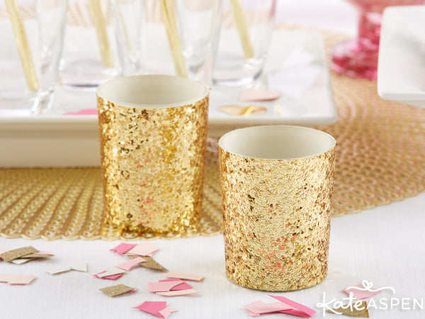 Gold Glitter Valentine's Day Party Decorations | Easy Valentine's Day Party Ideas from @KateAspen | KateAspen.com