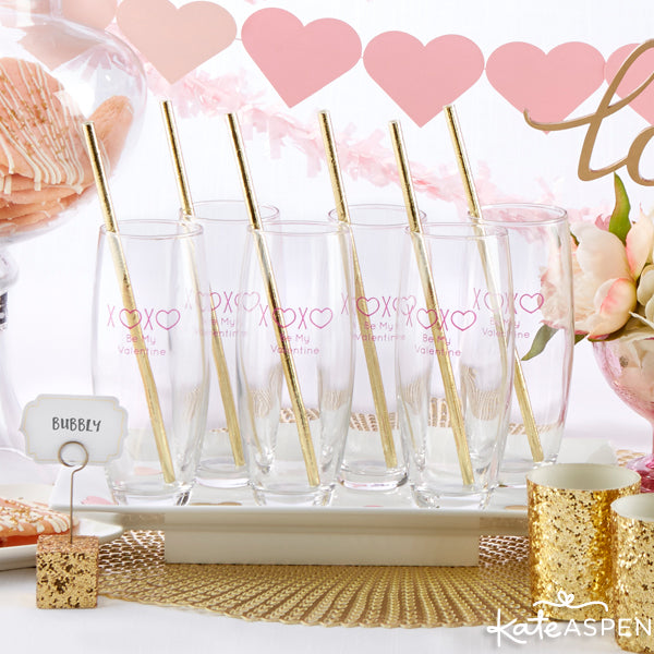 Check out these 2016 Valentine's Day party ideas for your girls | Personalized Stemless Champagne Glasses | @KateAspen | KateAspen.com